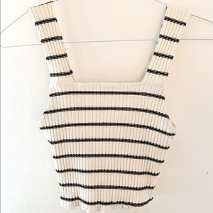 American Eagle Black and White Stripped Tank Top